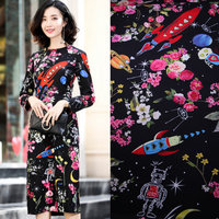 Space And Rocket Printed Stretch Polyester Fabric Tissue Women Cady Dress Floral Print Fabric Imitate Linen