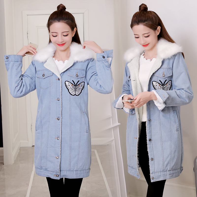 Winter Women Denim Jacket Flocking Coats Fur Collar Cotton Parkas Plus Size Jackets Female Warm Casual Outerwear winter women denim jacket flocking coats new fashion hooded cotton parkas plus size jackets female warm casual outerwear l384