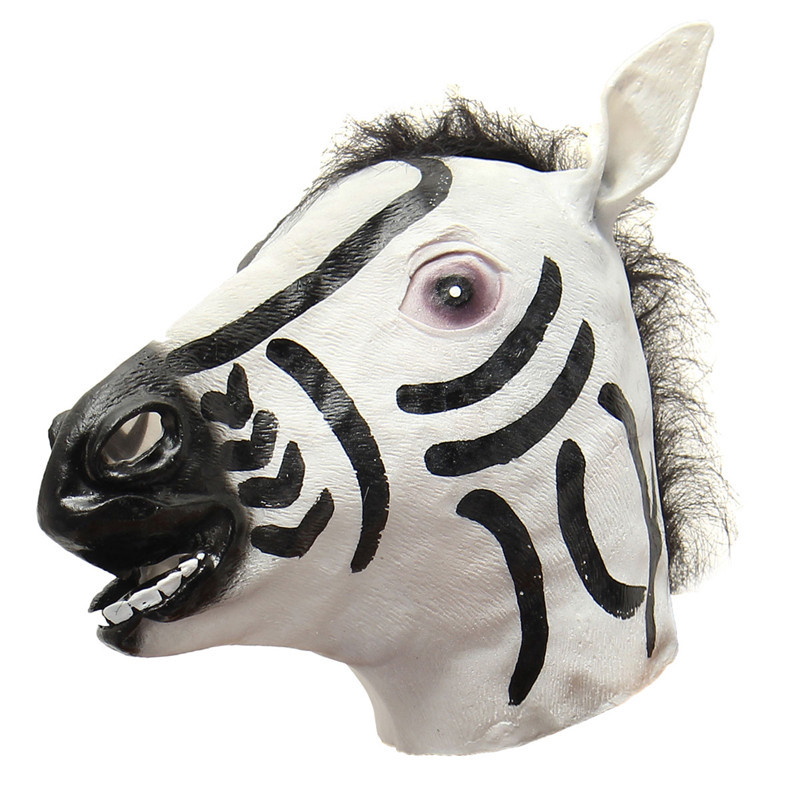 High Quality Zebra Latex Full Head Mask Cospaly Masquerade Animal Dress Up Carnival for Charity Events Halloween Party Masks