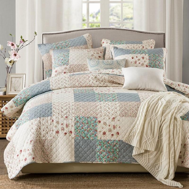 Chausub Korean Coverlet Washed Cotton Quilt Set 3pcs