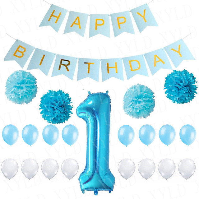 1st Happy Birthday Banner Diy Paper Pom Flower Inflatable Baloon