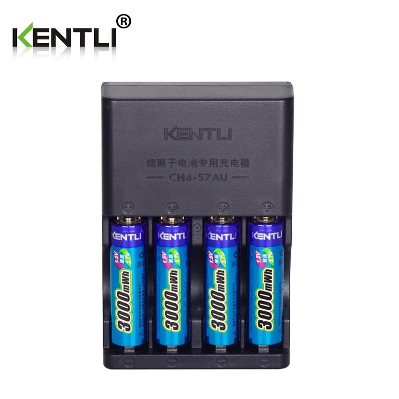KENTLI 4pcs 1.5v aa 3000mWh  Rechargeable Li-ion Li-polymer Lithium battery + 4 slots AA AAA lithium li-ion Smart Charger new 8pcs 1 5v aa lithium polymer rechargeable battery 3000mwh 4 slots usb charger 2a li ion cell replace ni mh type battery