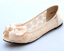 Sommer Schuhe Peep Toe Frauen Flachen Sandalen Spitze Leder Sandalen Frauen Müßiggänger Ausgeschnitten Wohnungen Atmungs Büro Party Brautschuhe