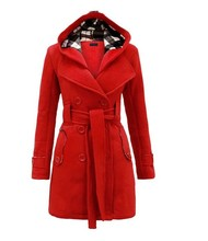 The womens new Plaid hoodie wool coat belt double breasted jacket coat.JN96