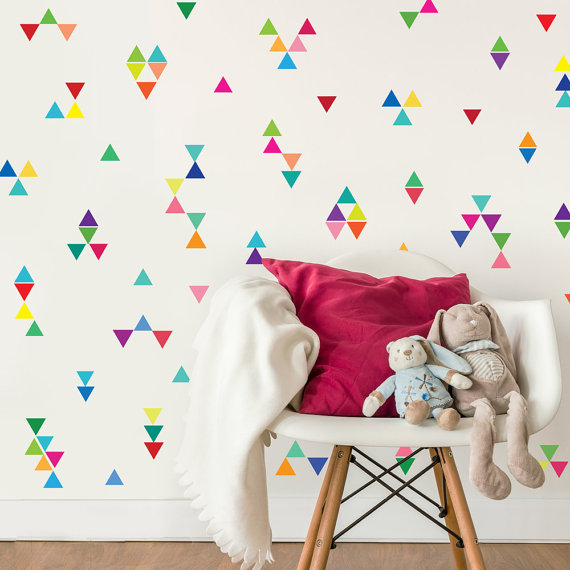 150pcs set in 15 colors mini rainbow triangles wall decals wall