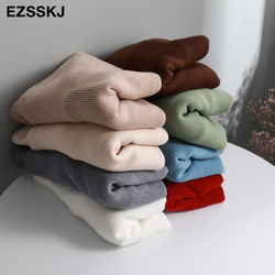 casual basic autumn winter thick Sweater Women long sleeve o-neck Soft Knit sweater Pullovers solid female  Jumper top 4