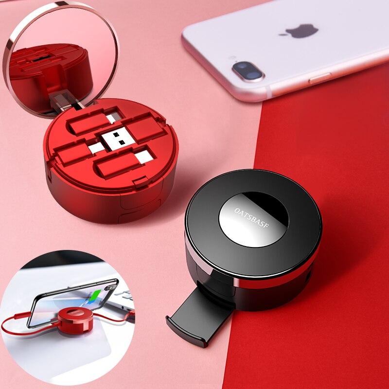 Oatsbasf 3 Dans 1 Micro Usb Type C Câble Rétractable pour IPhone X 8 7 6 6 s plus Poudre gâteau Boîte Cachée USB De Charge Chargeur Câble