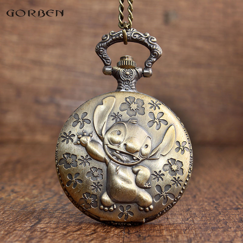 Vintage Bronze Pocket Watches Stitch and Flower Pattern Design Cute Boys Girls Quartz Pocket Watch with Necklace Chain Pendants