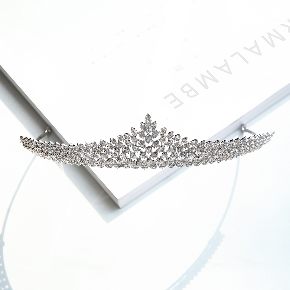 Parmalambe Petite Zircon Clusters Lush Silver Sweet Hair Tiaras Hair Jewelry Bridal Headpieces Crown Wedding Hair Accessories цена