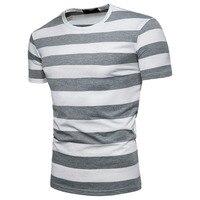 Brand Summer Hip Hop Thick Stripes T Shirt Men Casual Short Sleeve Male O Neck Tshirt