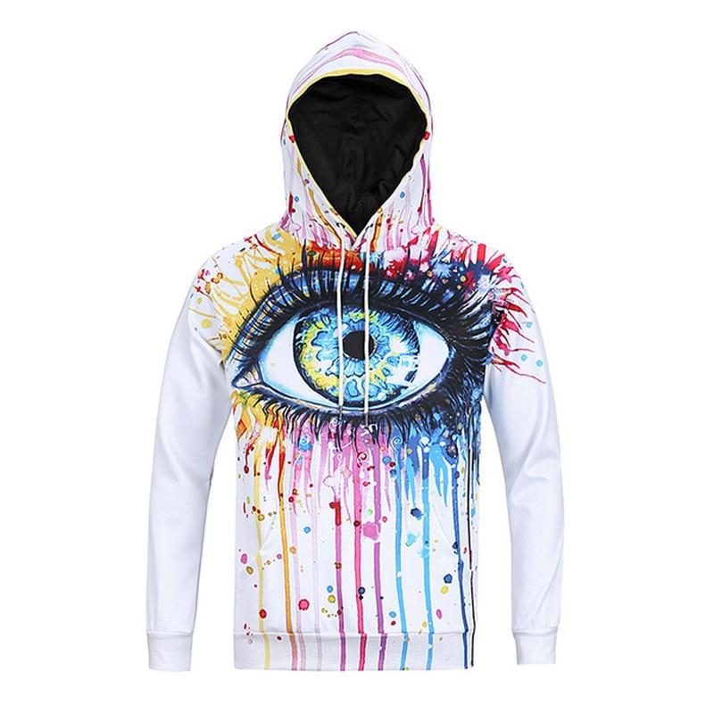 UIDEAZONE New Unisex 3D Hoodies Oil Painted Big Eye Funny Print Hooded Sweatshirt Hip Hop Hoody