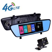 """7 """"4G DVR Del Coche del Espejo Retrovisor Del Coche Cámara GPS Navigatior Monitor Remoto Inteligente Android 5.1 Dual de la Lente 1080 P WIFI Dashcam"""