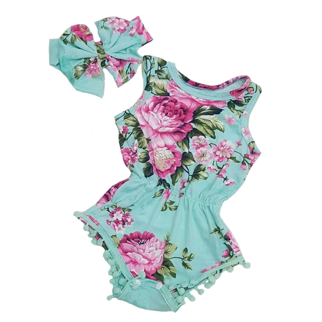 4641f71f664 Vintage Floral Baby Romper   Headband
