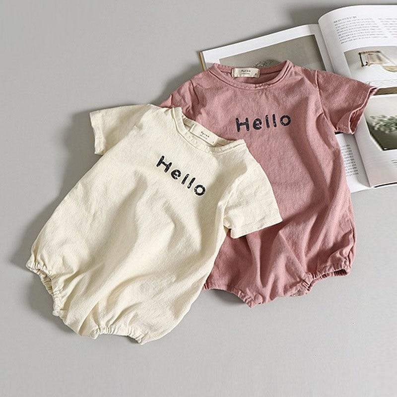 MILANCEL Summer Korean Style Baby Bodysuits Letter Print Boys Girls Jumpsuits Cute Infant Clothes