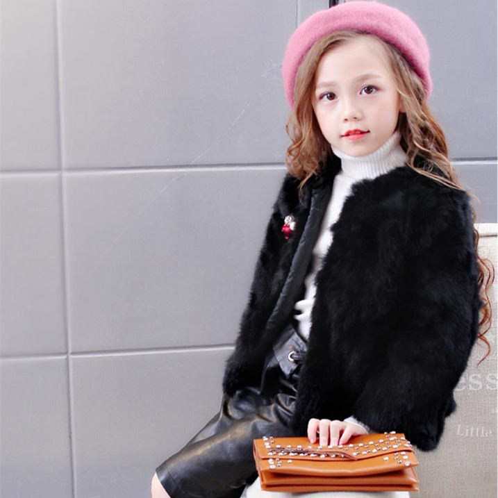 3 10Y Little Girls Natural Rabbit Fur Jackets O Neck Fur Jackets for girls Solid Fur