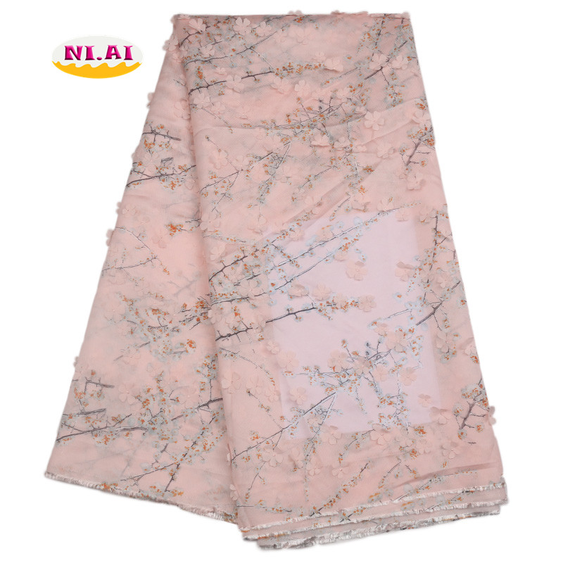 New Arrival African Peach Lace 3D Applique Lace Gold Silk Lace Fabric For Classical Dresses MR1753B