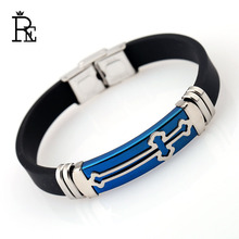 RE Silicone Stainless Steel Cross Bracelet Bangle Punk For Men Blue Gold Color Wristband Masculine Cool Jewelry