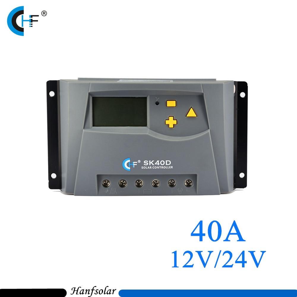 40A 12V 24V Portable Off Grid PWM Solar charge controller for Home Solar Panel System 100w 12v solar panel module 20a cmg controller 1000w off grid for car traile solar generators