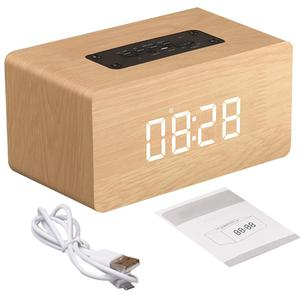 Wooden Wireless Alarm Clock Bl