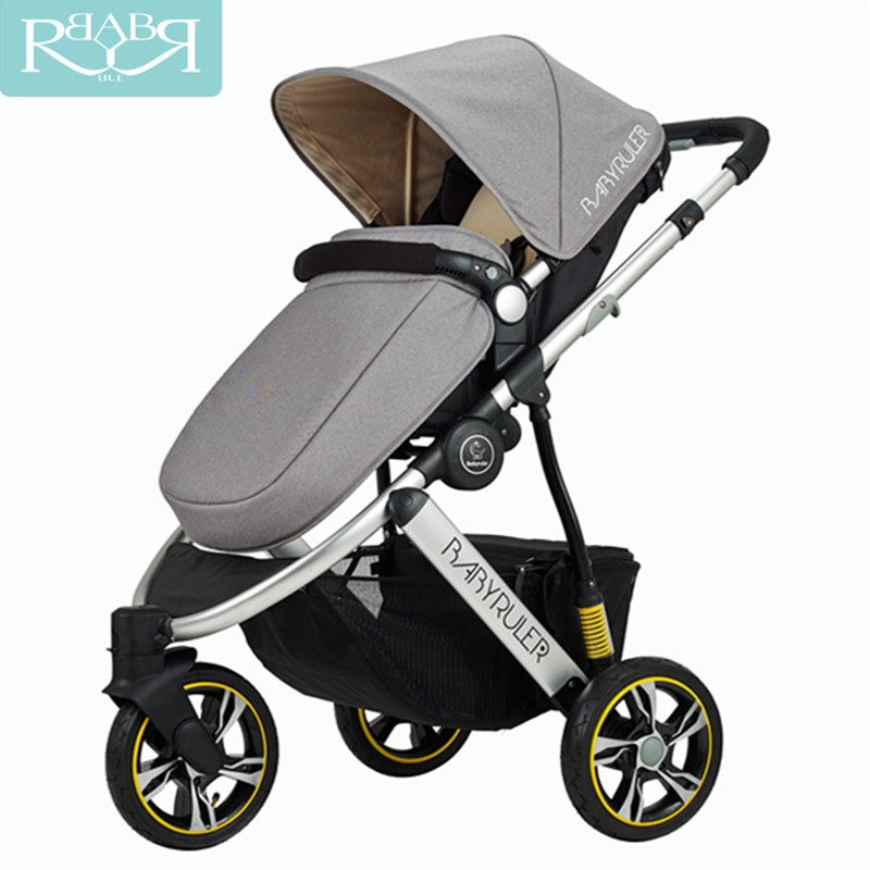 Babyruler High Landscape 6 Colors Aluminum Luxury Folding Baby Stroller 3 in 1 Baby Carriage For Newborn Sit And Lie children luxury baby stroller high landscape baby carriage for newborn infant sit and lie four wheels