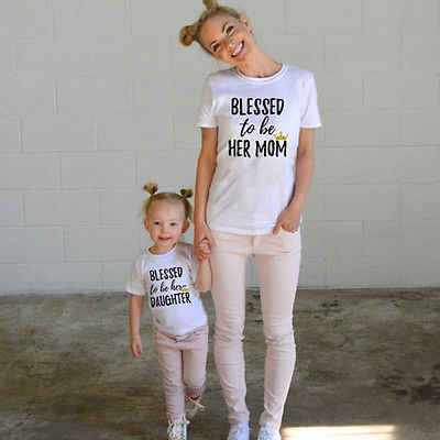 Baby Kids Girls Women Short Sleeve T-shirts Family Clothes Cotton Matching Shirts Blessed to her Mom Daughter T-Shirt Tee Tops