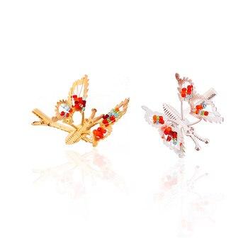Sweet Lovely Hollow Out Butterfly Hairpins Fashion Girls Headpiece Metallic Golden Butterfly Hairpin Glitter Shiny Hair Wear