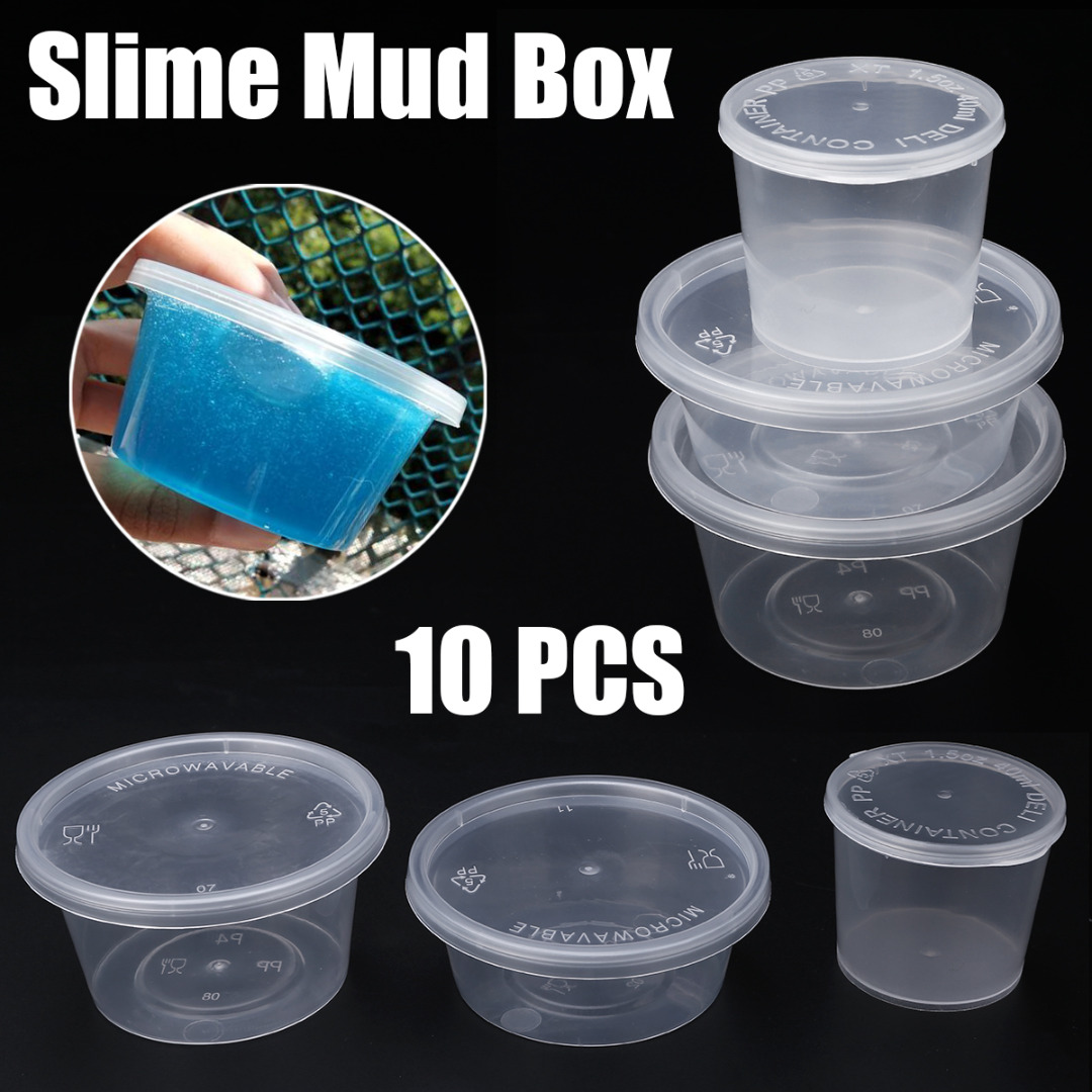 Image 2 - 10pcs 25/40/50/80ml Round Storage Container with Lids Slime Mud Clay Storage Box Candy Gift Organizer Jar-in Storage Boxes & Bins from Home & Garden