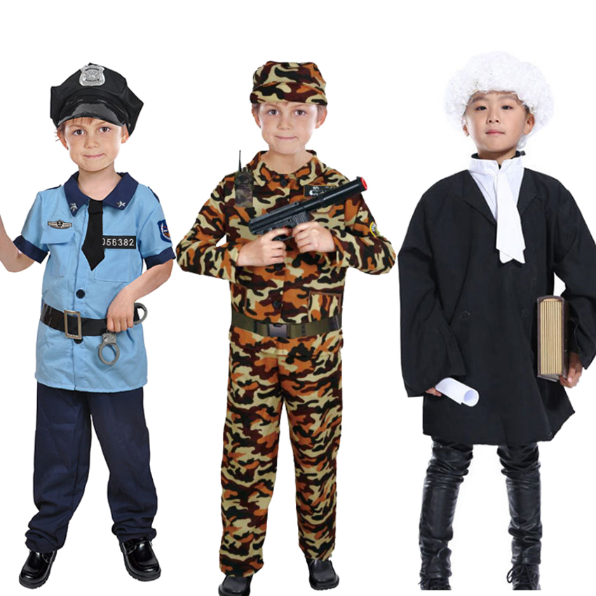 100-130cm Children Boys Military Uniform Camouflage Tactical Training Soldier Cosplay Costumes Policeman Lawyer Uniform image