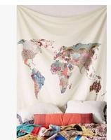 retro simple world nap pattern tapestry wall decorative hanging cloth blanket wall cover household indoor bedroom decor