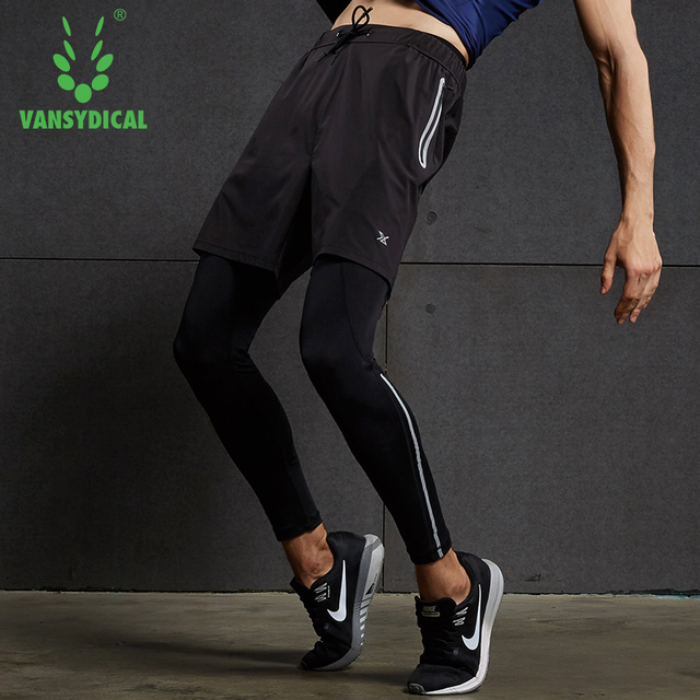 Vansydical Mens Running Tights Quick Dry Basketball Gym Pants Reflective Bodybuilding Jogger Trouser Compression Sports Leggings 2
