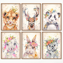 Watercolor Rabbit Tiger Panda Sheep Wall Art Canvas Painting Nordic Posters And Prints Pictures Girl Boy Kids Room Decor