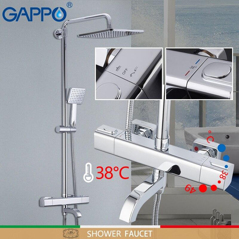 GAPPO banheira Torneiras Auto-Controle Do Termostato chuveiro torneiras misturador do banho rain shower set torneira da banheira cachoeira torneira misturador de água