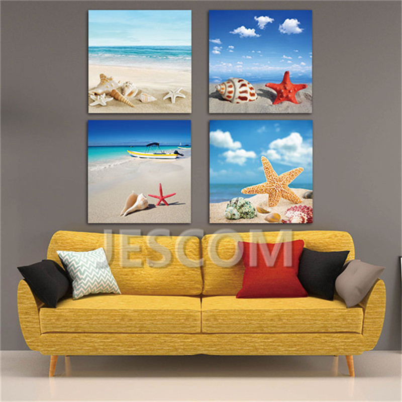 4 Piece Sea Beach Starfish Shell Conch Painting Canvas Art Print on Canvas for Study <font><b>Bed</b></font> Room Living Room Wall Decor Framed