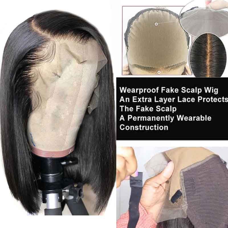 Fake Scalp Wig 13x6 Lace Front Human Hair Wigs For Black Women Short Bob Remy Blunt