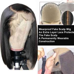 Fake Scalp Wig 13x6 Lace Front Human Hair Wigs For Black Women Short Bob Remy Blunt Pixie Cut PrePlucked Closure Invisible Wig(China)