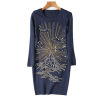 Top Quality Luxury Women Knitted Dress Autumn Winter Basic Sequins Embroidery Pearls Beading Sweaters Elegant Dresses NS548