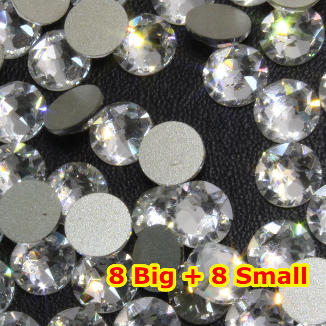1440 pçs/lote, AAA New Facted (8 grande + 8 pequena) ss20 (4.8-5.0mm) Cor cristal Nail Art Cola Na Non hotfix-Strass