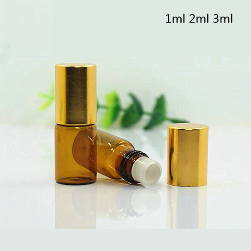 20ps/lot Wholesale Amber Mini Flacon Via Glas Essential Oil Glass Roll-On Refillable Bottles With Metal Ball Roller Golden Cap