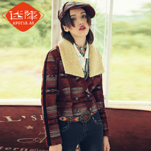 original winter folk style Vintage slim wool tweed coat female MZ14037