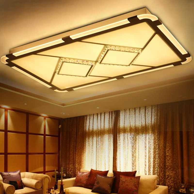 Rectangular side emitting led ceiling lamp hall living room ceiling lamp conference bedroom crystal lamp lighting fixture led new led high light living room crystal lamp rectangular living room lamp ceiling lamp chandelier lamp led lighting fixture led