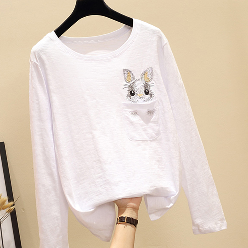 T Shirts Femme 2018 Autumn Vogue Pockets Cartoon Animal Rabbit Embroidery Tee Shirt Womens Long Sleeve Cotton Camiseta Feminina in T Shirts from Women 39 s Clothing