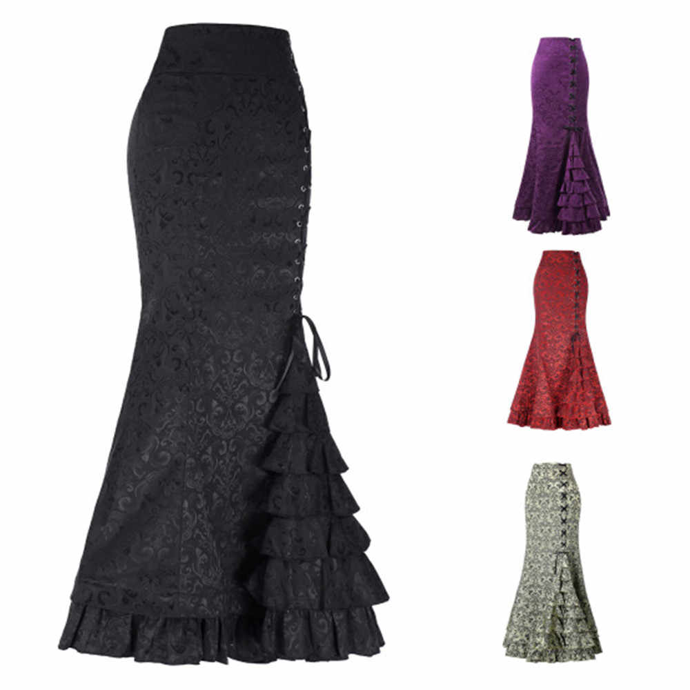 Victorian Asymmetrical Ruffled Satin & Lace Trim Gothic Skirts Women Corset dress Vintage Steampunk Skirt Cosplay Costumes