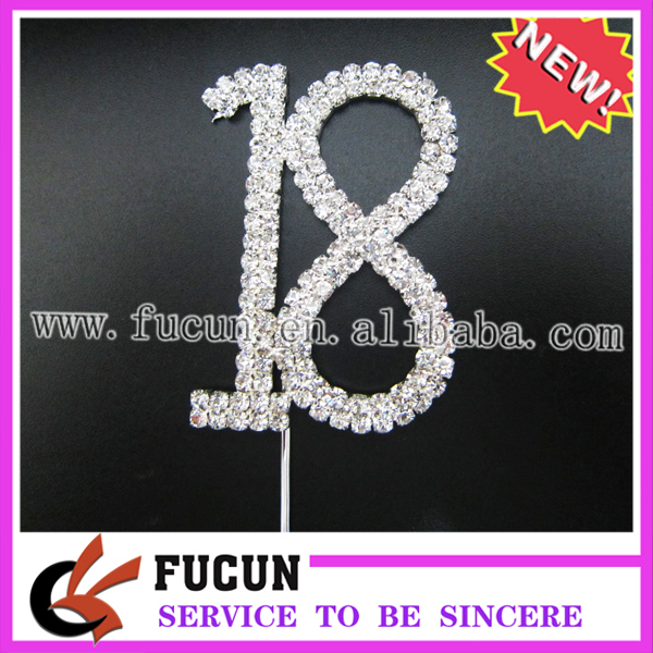 clear rhinestone silver plated rhinestone number 18 birthday cake topper for cup cake