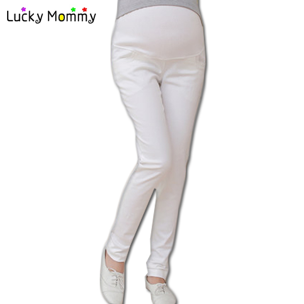 Black/White Maternity Pants for Autumn Spring High-waisted Belly Pencil Pants for Pregnant Women Plus Size Maternity Clothes