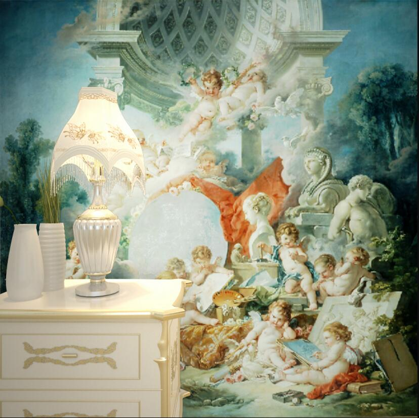 Europe oil painting small angel painting wallpaper printing hallway wall mural custom-made wallpaper