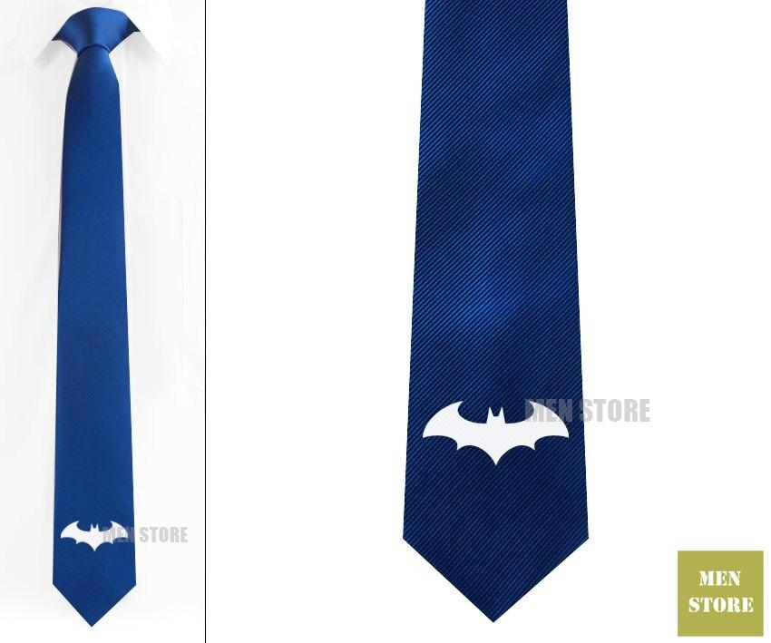 Cool Batman Symbol Pattern Men Jacquard Woven Skinny Narrow 2.3