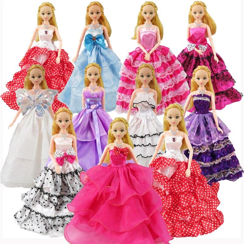 Random 5 Pcs Barbie Doll Dress Wedding Dress Princess Gown+5 Pcs Fashion Plastic Necklace Clothes For Barbie Dolls Girl's Gift hatber optimum barbie the pearl princess 20627