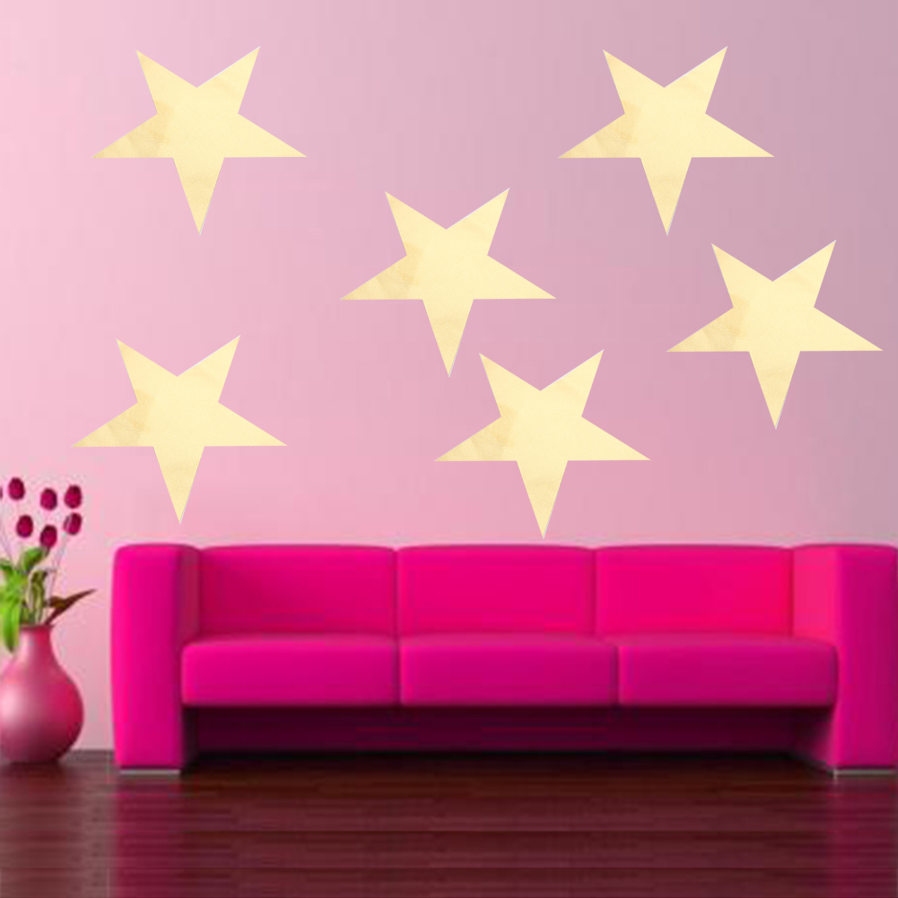 Star Mirror Wall Decor aliexpress : buy 2017 five pointed star mirror wall stickers