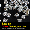Hot sale Sew on Rhinestone Crystal clear Silver Claw SS12 SS16 SS25 SS30 SS35 SS40 SS50 For Garment