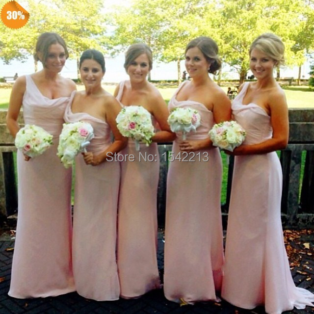 new collection new season 100% satisfaction guarantee Boutique Chic Pink Chiffon One Shoulder Pleats Long ...